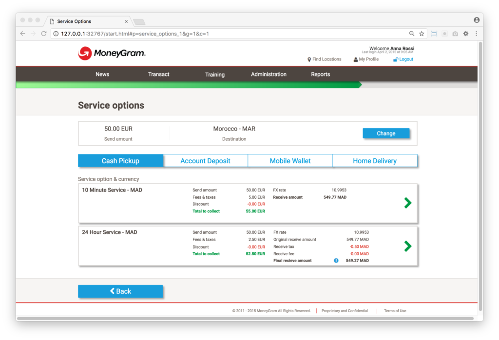 A screen showing service options for a particular send country.
