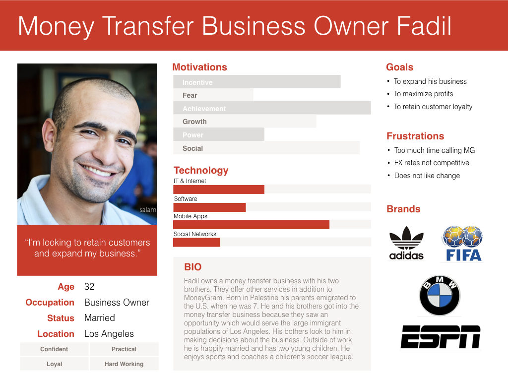 Persona of a money transfer business owner.